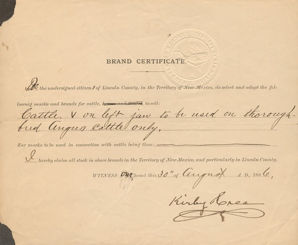 Brand Certificate August 30 1886-1